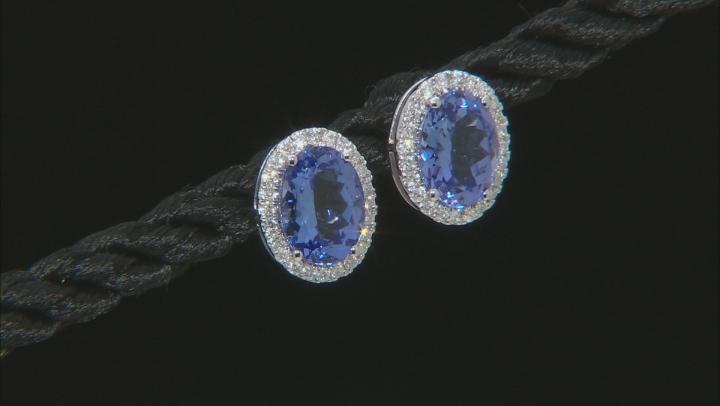 Blue Tanzanite Rhodium Over 14k White Gold Stud Earrings 2.06ctw