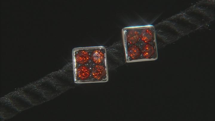 Brown zircon sterling silver earrings .68ctw