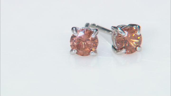 Brown zircon rhodium over silver stud earrings 1.15ctw