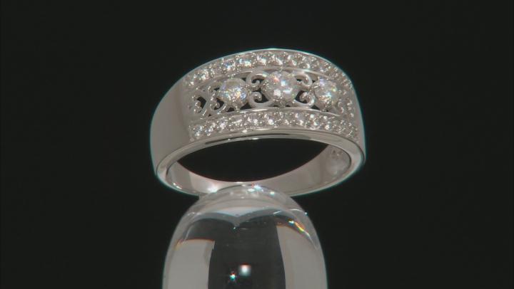 Fabulite Strontium Titanate and white zircon rhodium over silver ring .93ctw