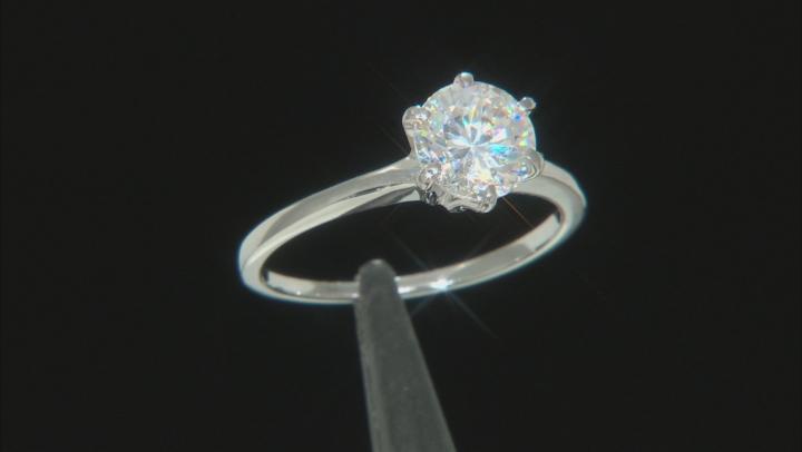 White Fabulite Strontium Titanate sterling silver solitaire ring 1.76ct