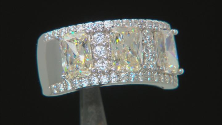 White Fabulite Strontium Titanate And White Zircon Rhodium over Silver Ring 4.39ctw