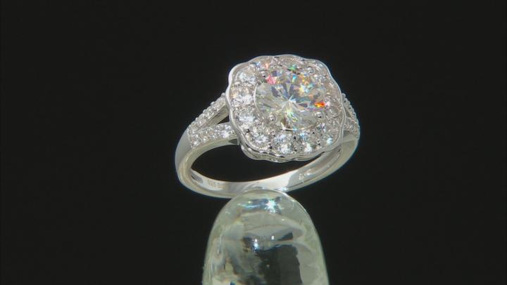 Fabulite Strontium Titanate And White Zircon Rhodium over sterling silver ring 3.67ctw