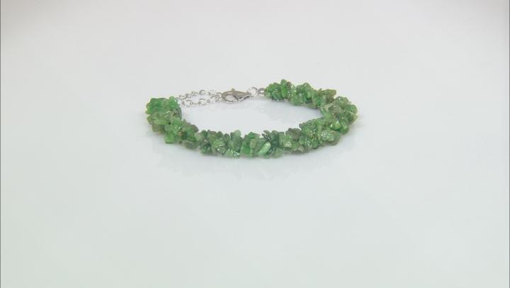 Green tsavorite garnet chip sterling silver bracelet