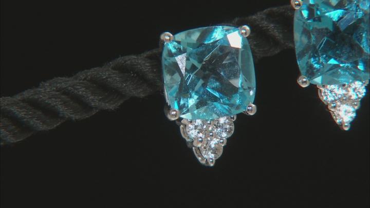 Swiss blue topaz rhodium over silver earrings 7.21ctw