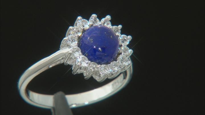 Blue lapiz lazuli sterling silver ring .46ctw