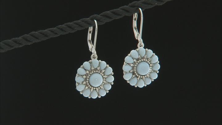 Blue Opal Sterling Silver Earrings .20ctw