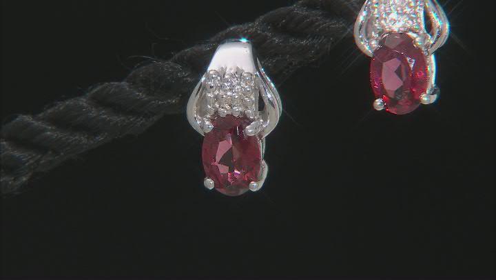 Raspberry color rhodolite sterling silver earrings 1.65ctw