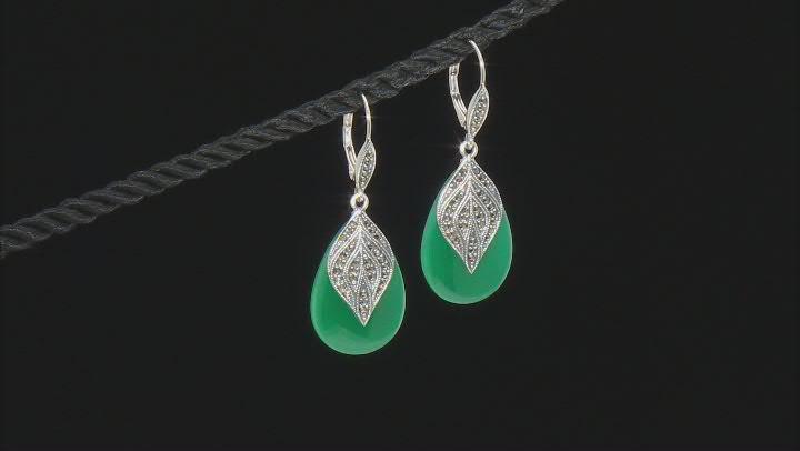 Green onyx sterling silver dangle earrings