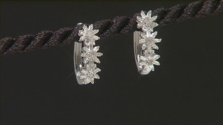 White Diamond Rhodium Over Sterling Silver Flower Hoop Earrings .45ctw