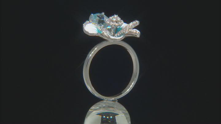 Sky Blue Topaz Rhodium Over Sterling Silver Enamel Flower Ring 1.61ctw