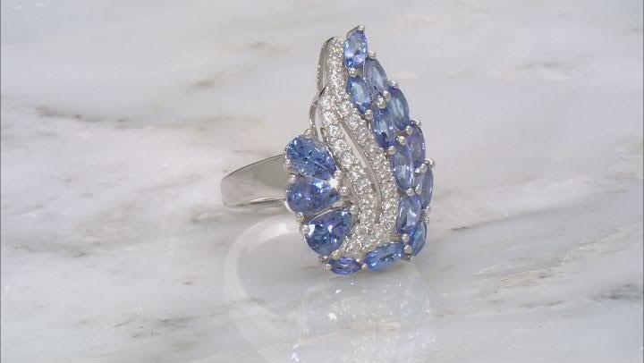 Blue Tanzanite Rhodium Over Silver Ring 2.80ctw