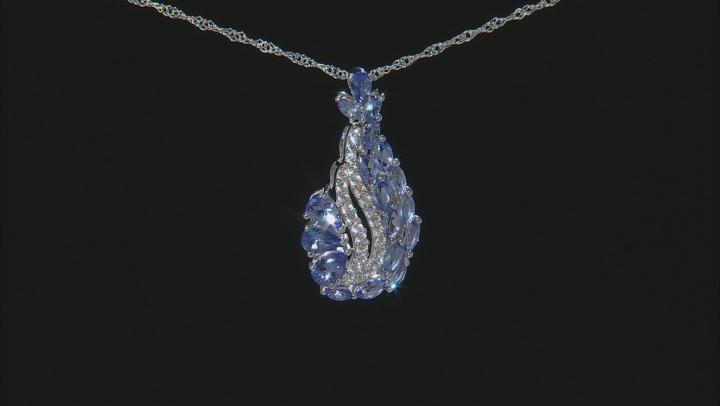 Blue Tanzanite Rhodium Over Silver Pendant With Chain 3.15ctw