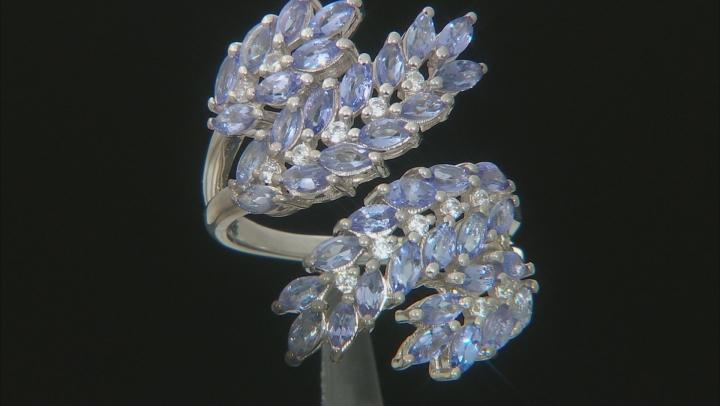 Blue Tanzanite Rhodium Over Silver Ring 3.39ctw
