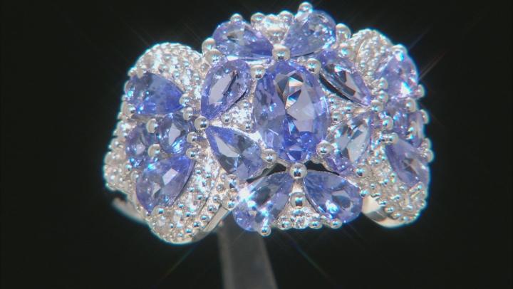 Blue Tanzanite Rhodium Over Silver Band Ring 3.49ctw