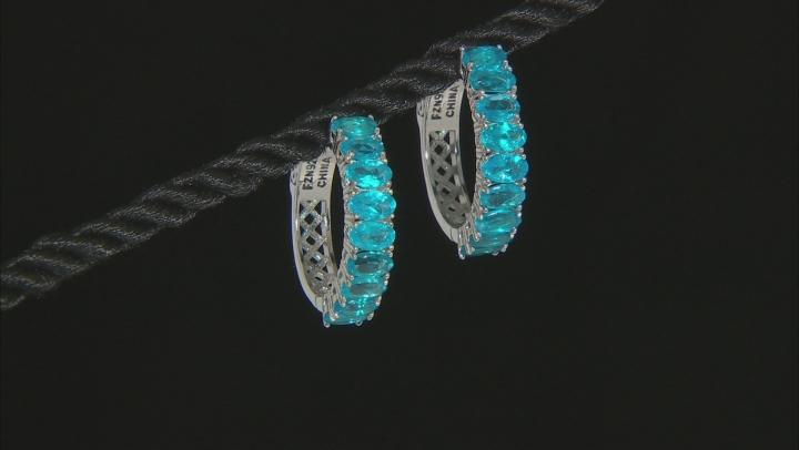 Neon apatite rhodium over sterling silver hoop earrings 3.78ctw