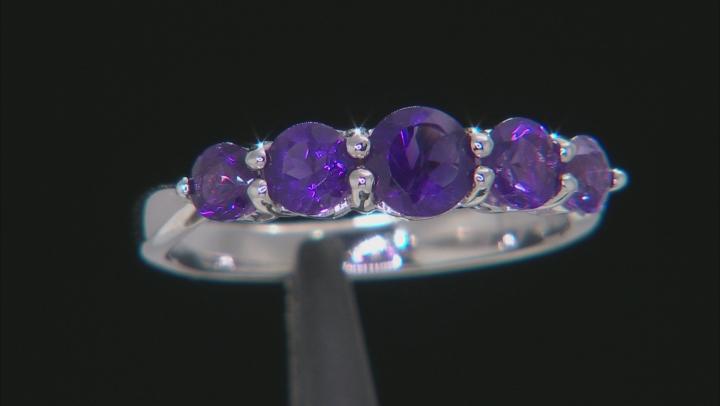 Purple amethyst rhodium over silver band ring 1.03ctw