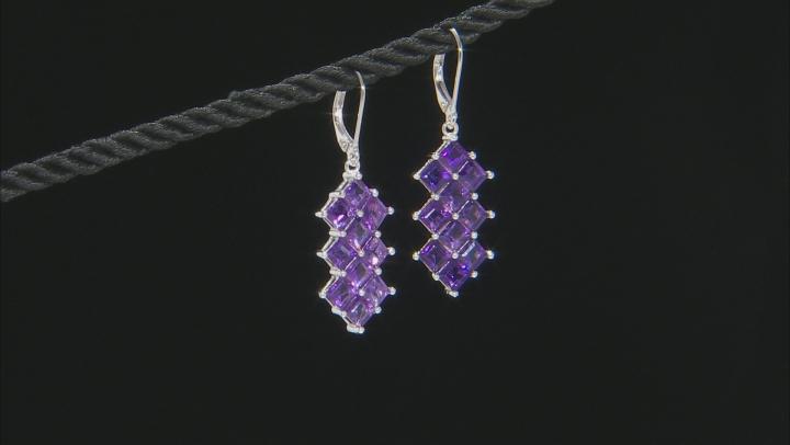 Purple Amethyst Rhodium Over Silver Earrings 5.44ctw