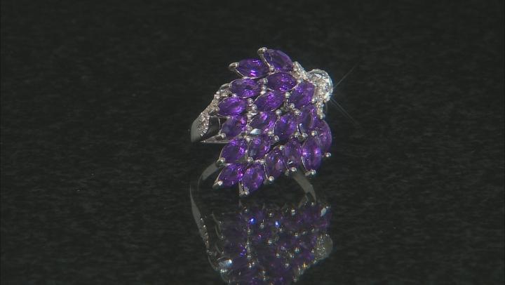 Purple Amethyst Rhodium Over Silver Ring 3.63ctw