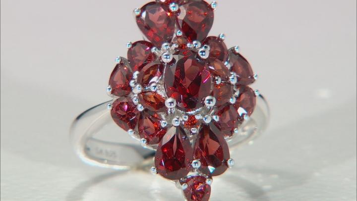 Red Garnet Rhodium Over Silver Ring 5.05ctw