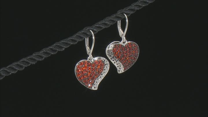 Red Garnet Rhodium Over Silver Heart Dangle Earrings 2.60ctw