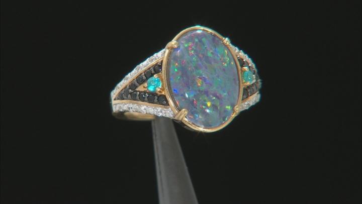 Multi-Color Australian Opal Triplet 18k yellow Over Silver Ring .30ctw