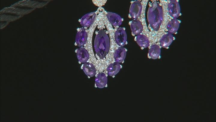 Purple Amethyst Rhodium Over Silver Earrings 4.31ctw