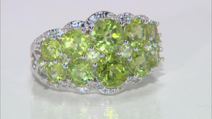 Green Peridot Rhodium Over Silver Ring 4.49ctw