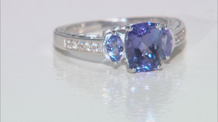 Blue Tanzanite Rhodium Over Silver Ring 1.68ctw