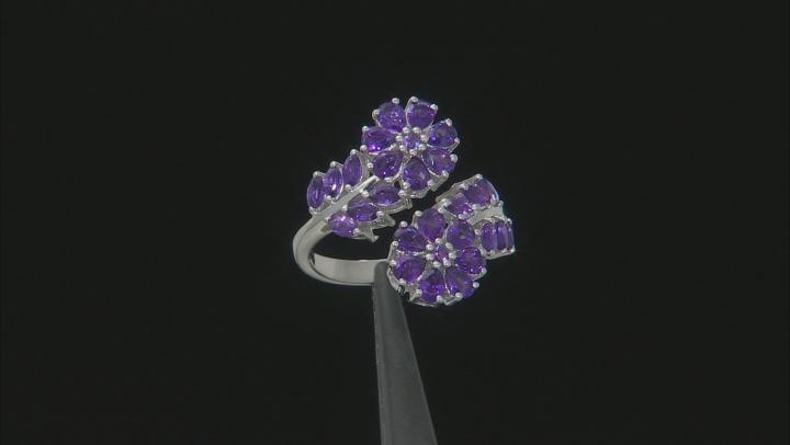 Purple Amethyst Rhodium Over Silver Ring 2.98ctw