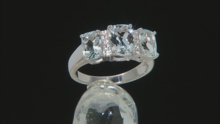 Blue Aquamarine Rhodium Over Silver Ring 2.28ctw