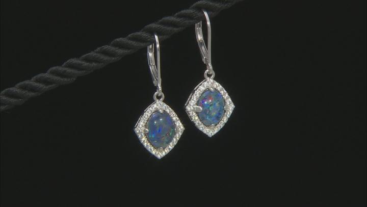 Multi-color Australian Opal Triplet Rhodium Over Silver Dangle Earrings .49ctw