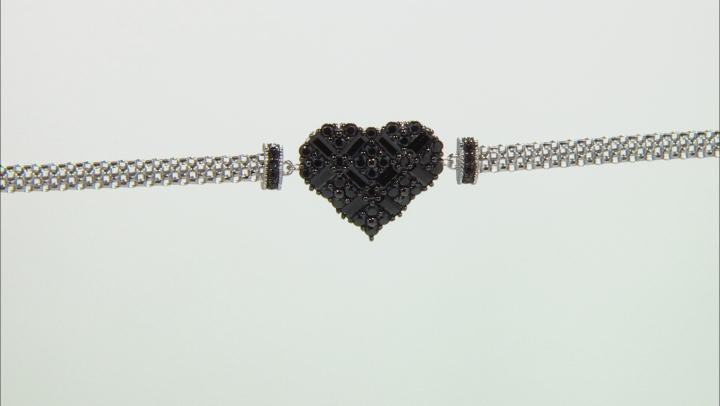 Black spinel rhodium over sterling silver heart bracelet 2.06ctw