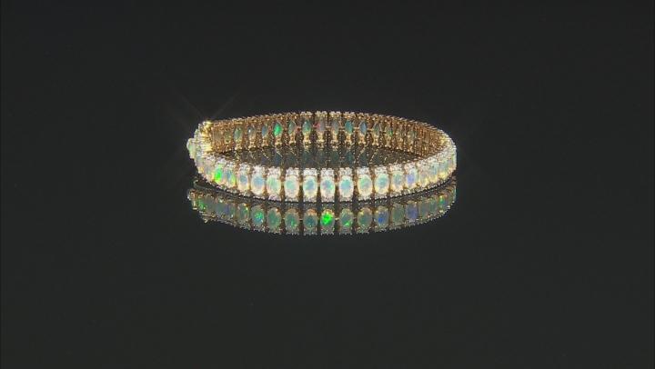 Multicolor Ethiopian Opal 18k Yellow Gold Over Silver Bracelet 11.01ctw