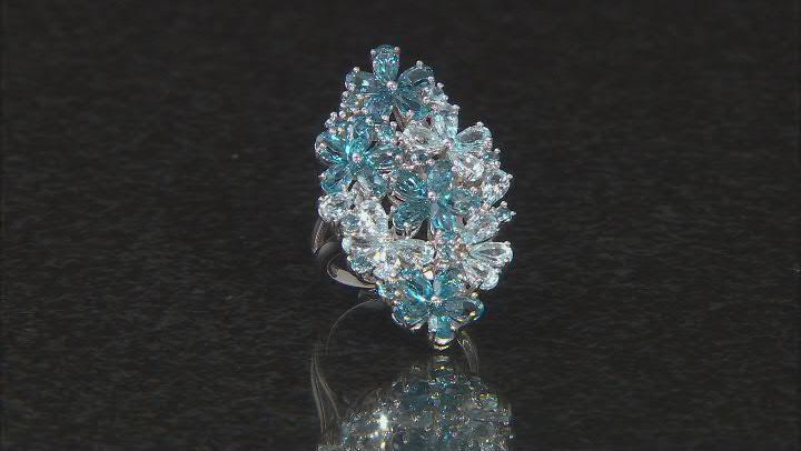 Blue Topaz Rhodium Over Silver Flower Ring 6.18ctw
