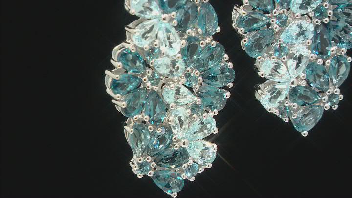 Blue Topaz Rhodium Over Silver Earrings 9.80ctw