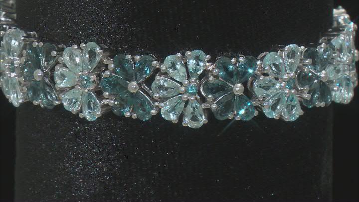 Blue Topaz Rhodium Over Silver Bracelet 20.88ctw