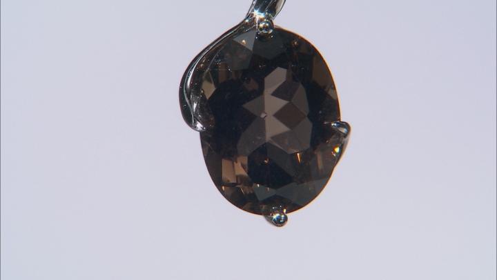 Brown Smoky Quartz Rhodium Over Silver Pendant With Chain 7.82ct