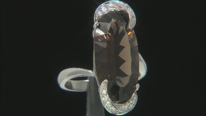 Brown Smoky Quartz Rhodium Over Silver Ring 6.89ctw