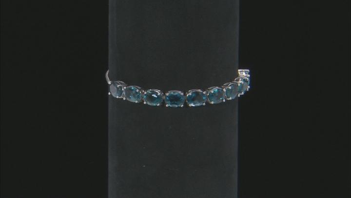 London bue topaz rhodium over sterling silver adjustable bolo bracelet 11.25ctw