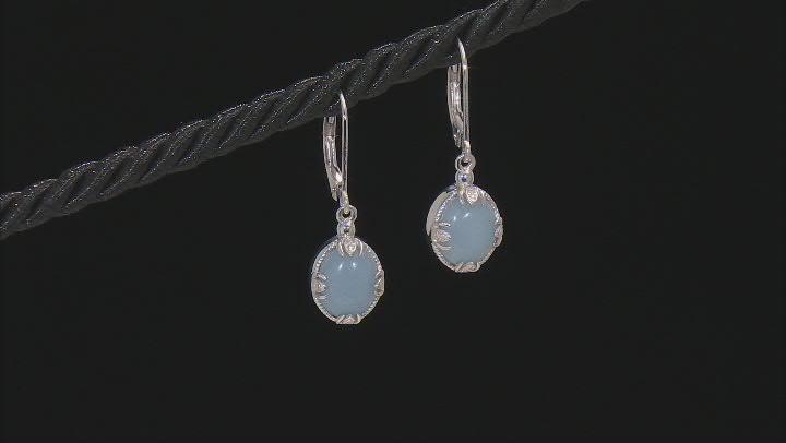 Blue Angelite Rhodium Over Sterling Silver Earrings