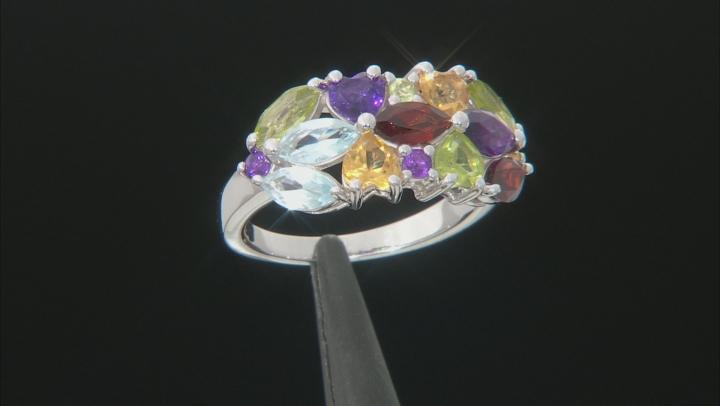 Multi-Gemstone Rhodium Over Sterling Silver Ring 2.60ctw