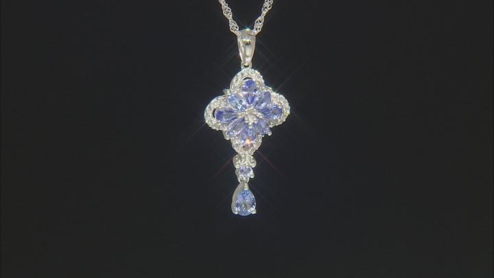 Blue Tanzanite Rhodium Over Silver Pendant With Chain 1.97ctw
