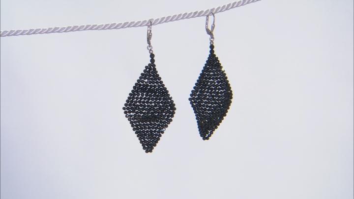 Black Spinel Rhodium Over Silver Woven Kite Earrings