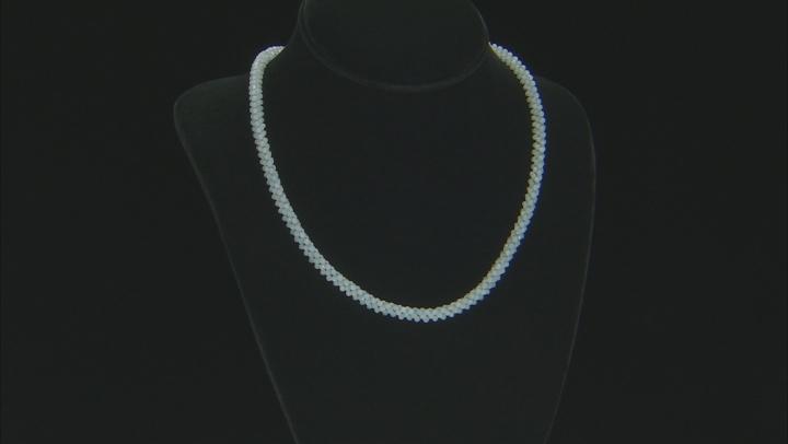 Blue Aquamarine Rhodium Over Silver Necklace