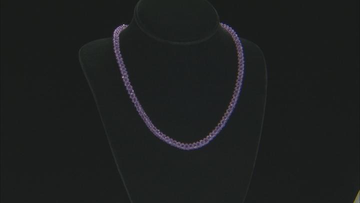 Purple Amethyst Rhodium Over Silver Necklace