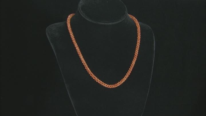 Orange Hessonite Rhodium Over Silver Necklace