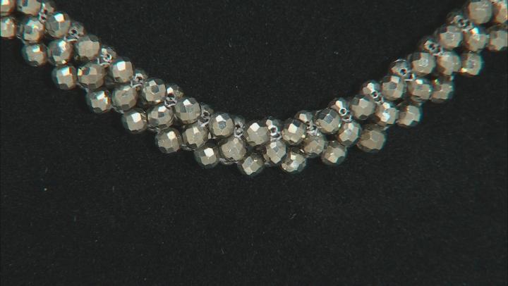 Gray Pyrite Rhodium Over Silver Necklace