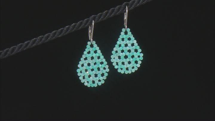 Blue Amazonite Rhodium Over Sterling Silver Beaded Dangle Earrings