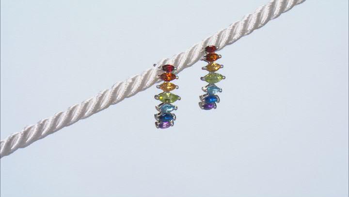 Red Garnet Rhodium Over Sterling Silver Earrings. 1.46ctw